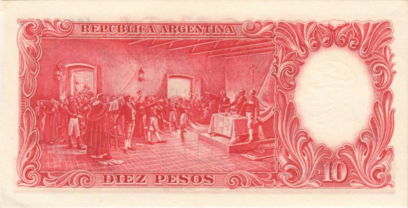 Argentina P270(9) 10 Pesos Serie F 1954-1963 UNC