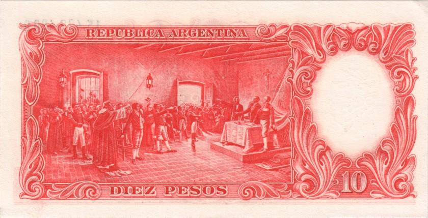 Argentina P270(9) 10 Pesos Serie G 1954-1963 UNC