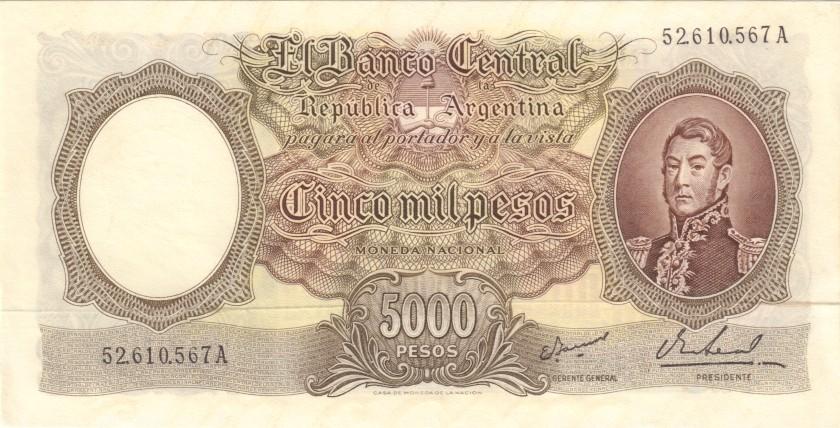 Argentina P280(6) 5.000 Pesos Serie A 1962-1969