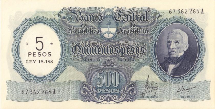 Argentina P283(2) 5 Pesos Serie A 1969-1971 UNC