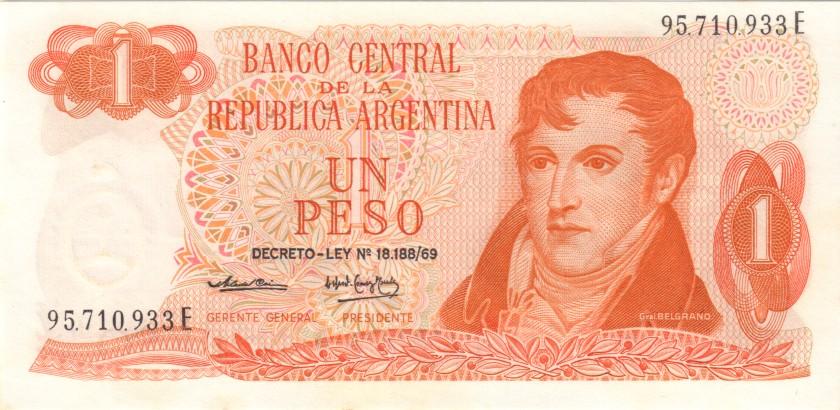 Argentina P293 1 Peso Serie E 1974