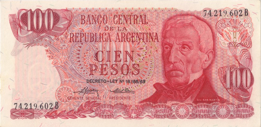 Argentina P297(2) 100 Pesos Serie B 1973-1976 UNC