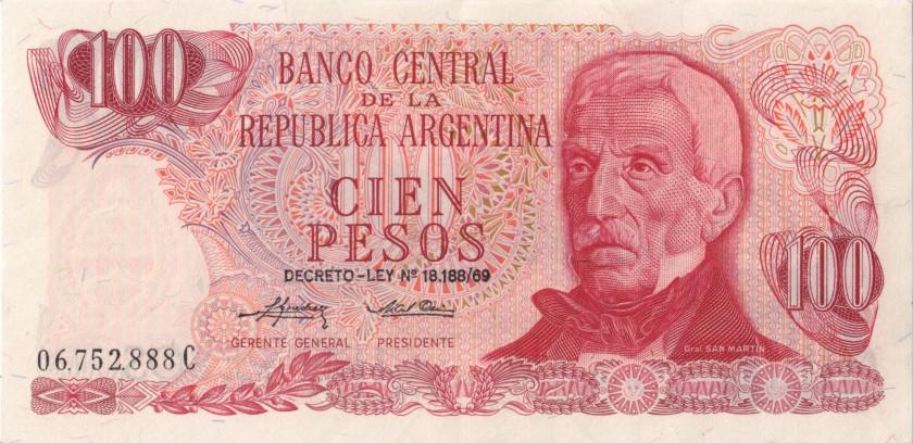Argentina P297(2) 100 Pesos Serie C 1973-1976