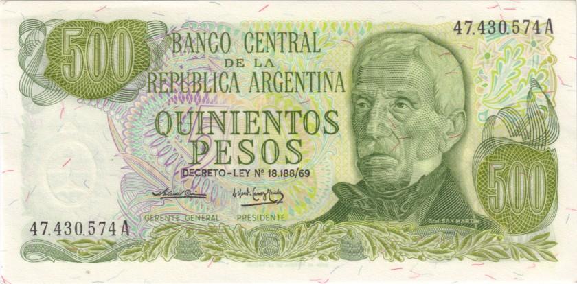 Argentina P298a 500 Pesos Serie A 1974-1975 UNC