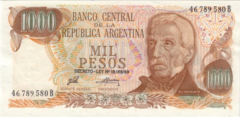 Argentina P299(3) 1.000 Pesos Serie B 1973-1976 UNC