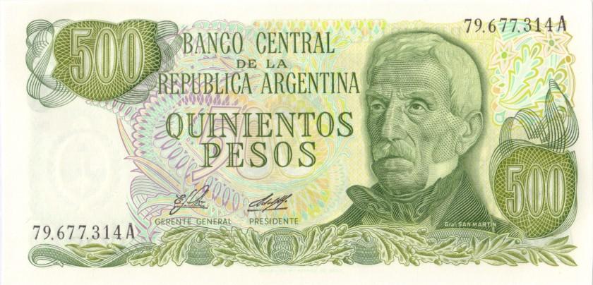 Argentina P303a(1) 500 Pesos Serie A 1977-1982 UNC