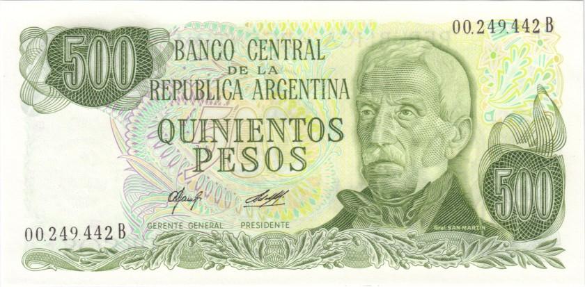 Argentina P303a(2) 500 Pesos Serie B 1977-1982 UNCq