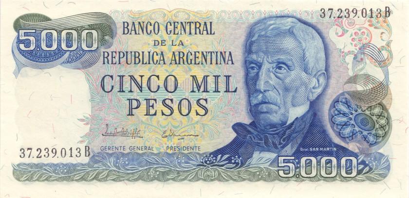 Argentina P305b(1) 5.000 Pesos 1977-1983 UNC