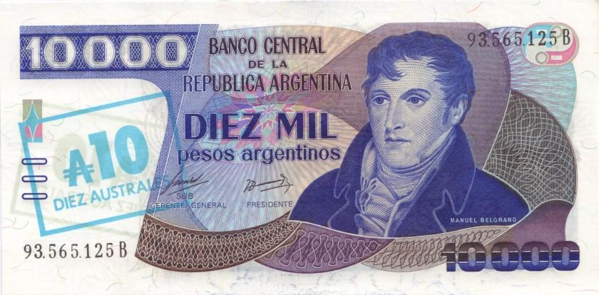 Argentina P322d 10 Australes Serie B 1985 UNC
