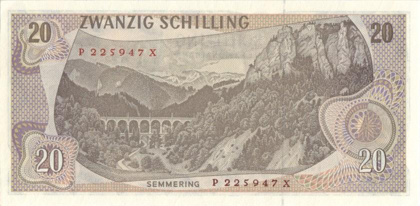 Austria P142a(1) 20 Schilling 1967 XF+/AU-
