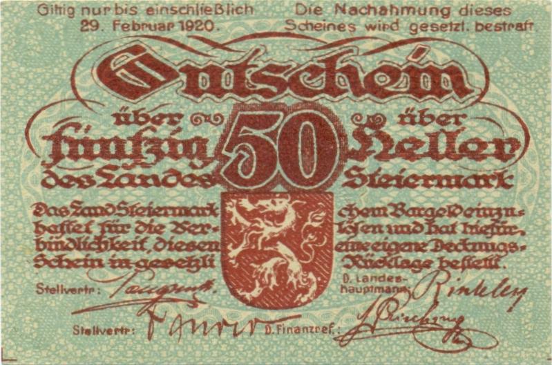 Austria P-S138a 50 Heller 1920 AU-UNC