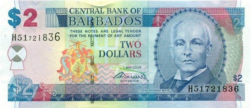 Barbados P66b 2 Dollars 2007 UNC