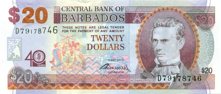 Barbados P72 20 Dollars 2012 UNC