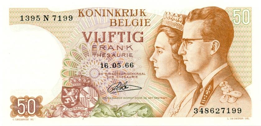 Belgium P139(4) 50 Francs 1966 UNC