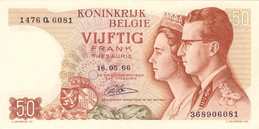 Belgium P139(4) 50 Francs 1966 XF