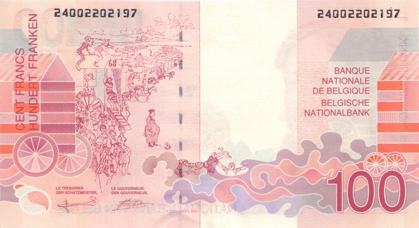 Belgium P147(1) 100 Francs 1995-2001 UNC