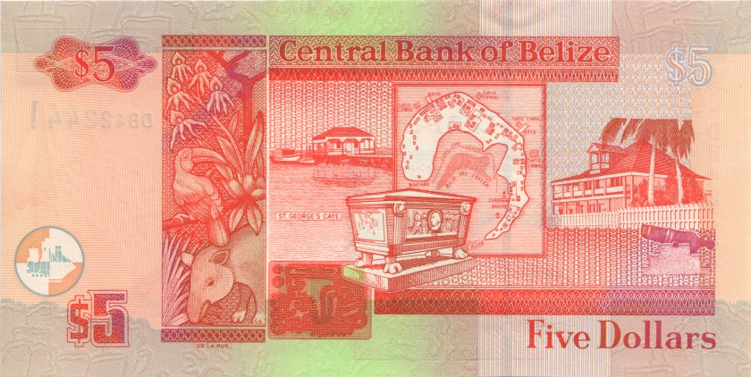 Belize P67a 5 Dollars 2003 UNC