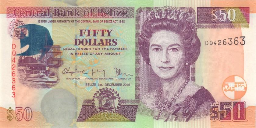 Belize P70f 50 Dollars 2016 UNC