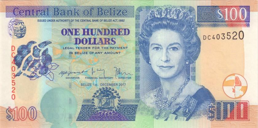 Belize P71d 100 Dollars 2017 UNC