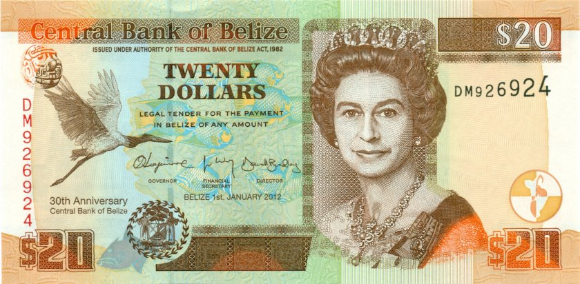 Belize P72 20 Dollars 2012 UNC