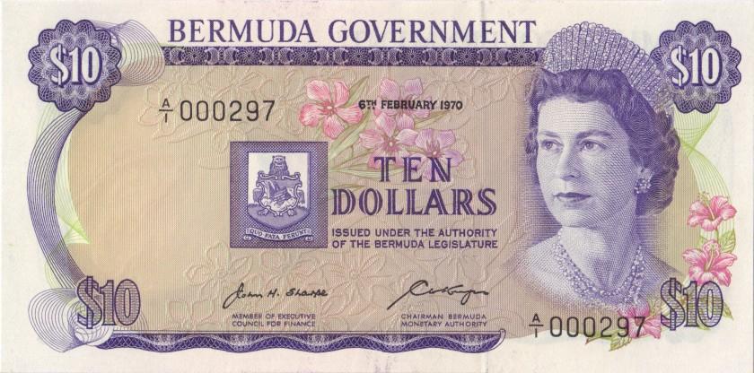 Bermuda P25 #000297 10 Dollars 1970 UNC