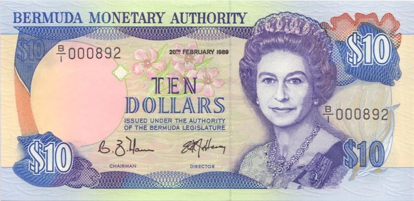 Bermuda P36 10 Dollars 1989 UNC