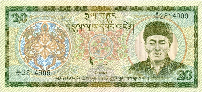 Bhutan P23 20 Ngultrum 2000 UNC