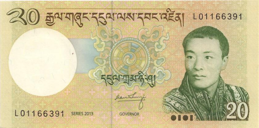 Bhutan P30b 20 Ngultrum 2013 UNC