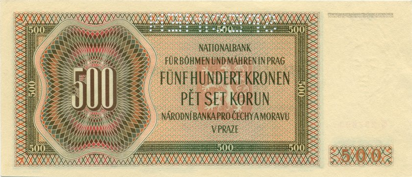 Bohemia and Moravia P11s SPECIMEN 500 Kronen / Korun 1942 AU