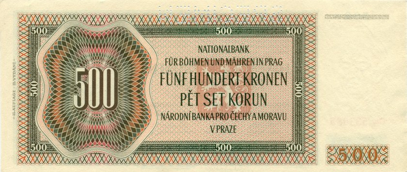 Bohemia and Moravia P12s SPECIMEN 500 Kronen / Korun 1942 AU