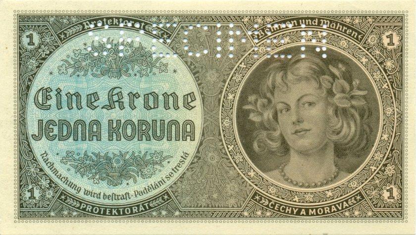 Bohemia and Moravia P3s SPECIMEN 1 Krone / Koruna 1940 AU