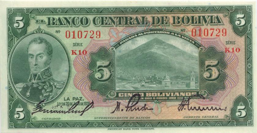 Bolivia P120a(7-1) 5 Bolivianos 1928 UNC