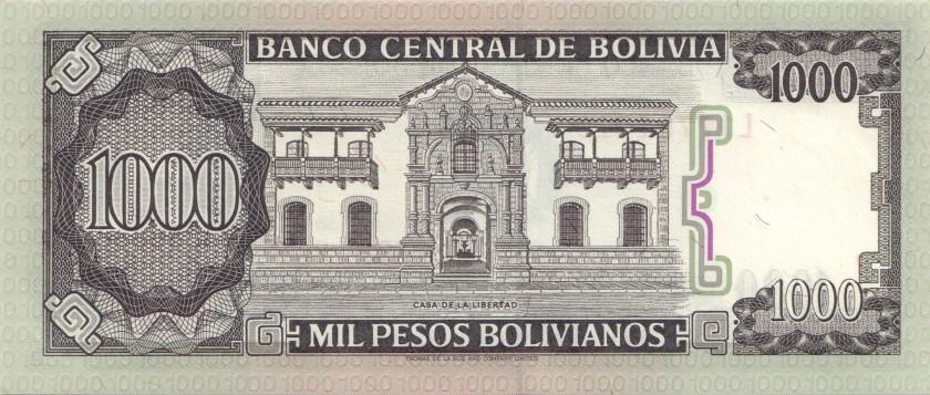 Bolivia P167a(2) 1.000 Pesos Bolivianos 1982 UNC