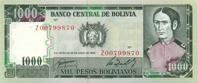 Bolivia P167r REPLACEMENT 1.000 Pesos Bolivianos 1982 UNC