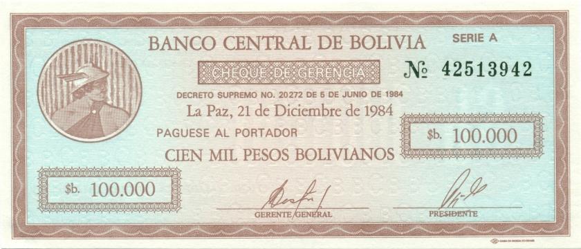 Bolivia P188 100.000 Pesos Bolivianos 1984 UNC