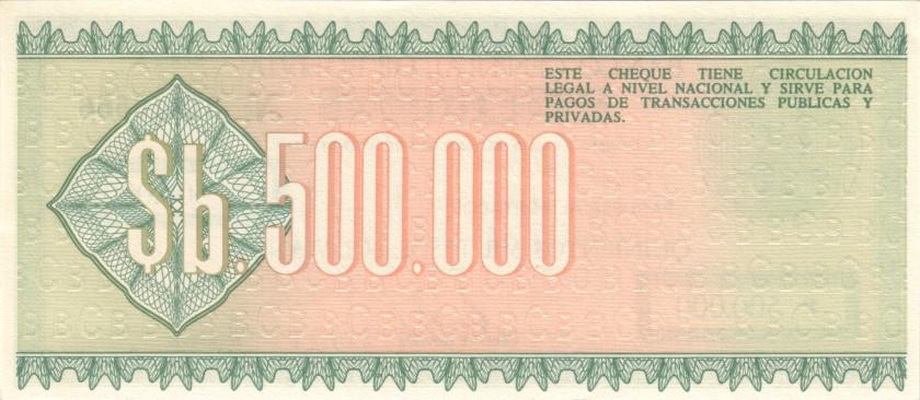 Bolivia P189 500.000 Pesos Bolivianos 1984 UNC