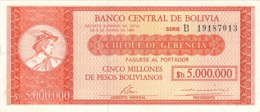 Bolivia P192A 5.000.000 Pesos Bolivianos 1985 UNC