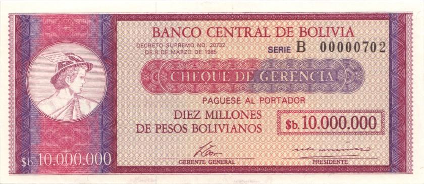 Bolivia P192B 10.000.000 Pesos Bolivianos 1985 UNC