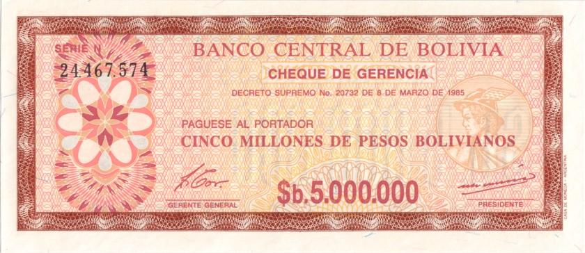 Bolivia P193 5.000.000 Pesos Bolivianos 1985 UNC