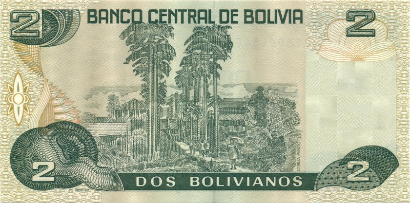 Bolivia P202b 2 Bolivianos 1986 (1990) UNC