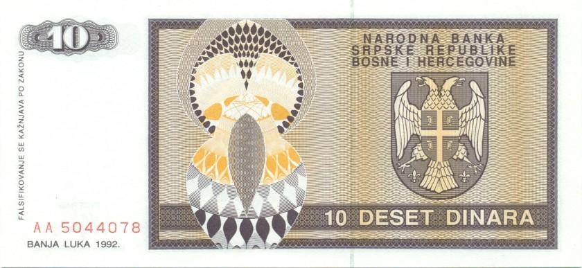 Bosnia and Herzegovina P133 10 Dinara 1992 UNC