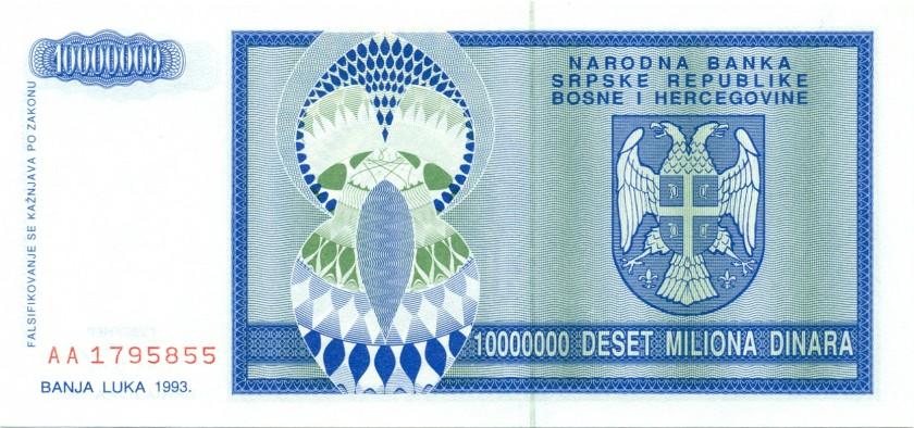 Bosnia and Herzegovina P144 10.000.000 Dinara 1993 UNC