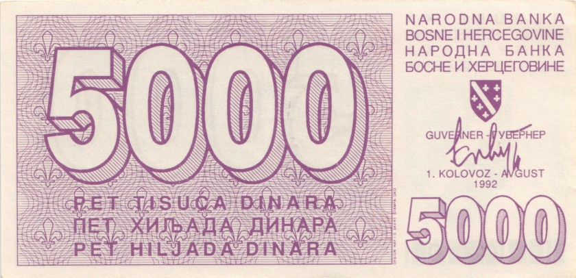 Bosnia and Herzegovina P27 5.000 Dinara 1992 UNC-