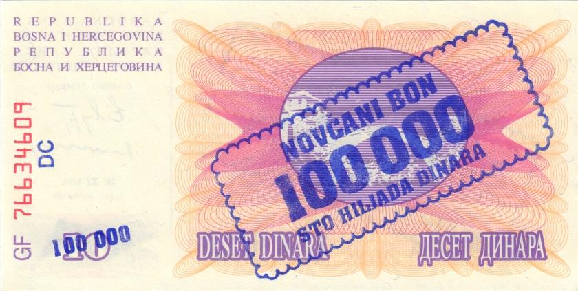 Bosnia and Herzegovina P34b 100.000 Dinara 1993 UNC