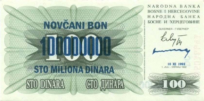 Bosnia and Herzegovina P37 100.000.000 Dinara 1993 UNC
