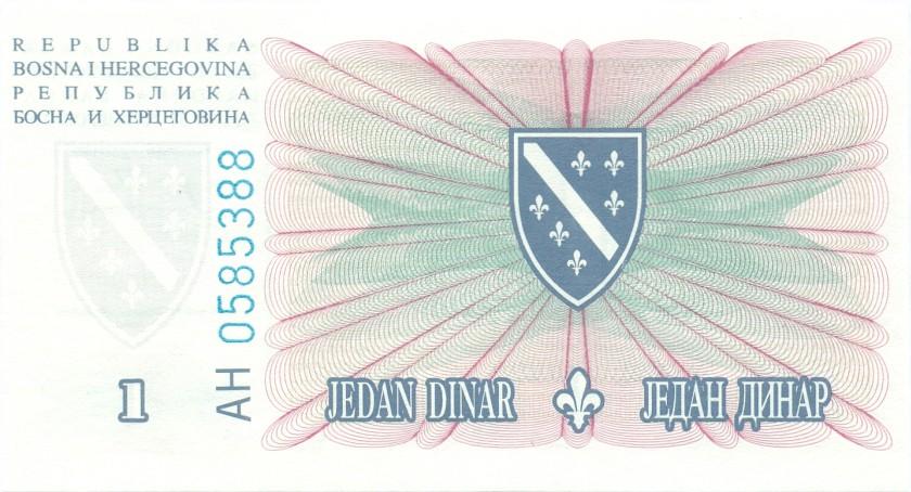 Bosnia and Herzegovina P39 1 Dinar 1994 UNC