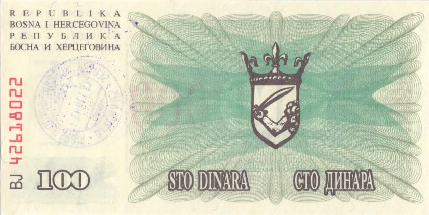 Bosnia and Herzegovina P56h 100.000 Dinara 1993 UNC