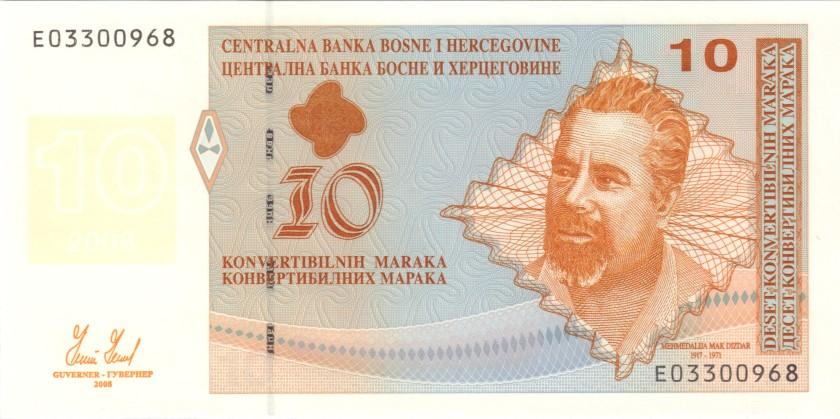 Bosnia and Herzegovina P72 10 Konvertibilnih Maraka (Convertible Marka) 2008 UNC