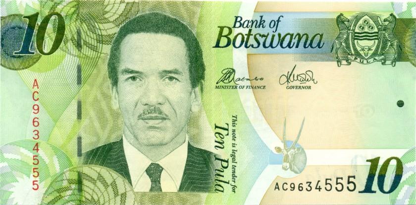 Botswana P30c 10 Pula 2012 UNC