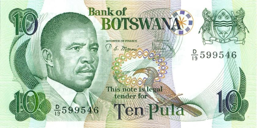 Botswana P9b 10 Pula 1982 UNC